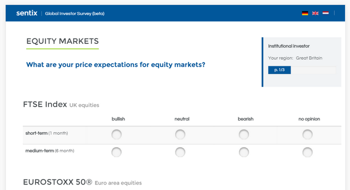 sentix Global Investor Survey: The new layout in English (participant comes from UK)